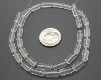 32 Clear Glass Tube Beads 10MM (H2282)
