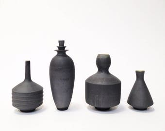 MADE TO ORDER- collection of 4 stoneware vases in Slate matte glaze by sara paloma