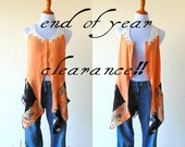 XS - M Clearance Sale!! Tangerine Dreams Tunic duster vest gypsy teen clothing lagenlook handmade boho chic hippie upcycled wearable art