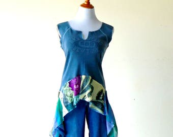 Size M-L~ Peacock Blue Sports Tshirt & Kerchief Skirt Top / Tunic ~ gypsy clothing lagenlook handmade upcycled boho chic hippie wearable art