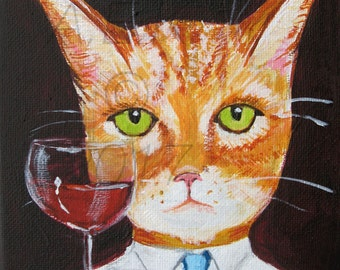Orange Tiger Cat with Red Wine 8 x 10 Art Print - Funny Cat Art - Bill the Tiger Cat Had a Bad Day - Cat Gift Idea