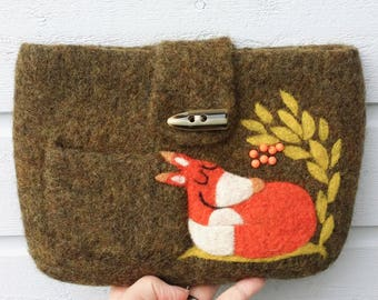 Felted bag pouch purse bag hand knit needle felted dark moss green wool needle felted fox