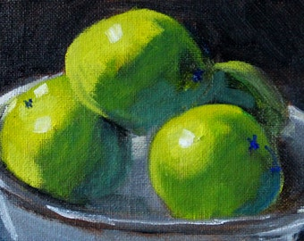 Limes, Original, Still Life Oil Painting, Small 4x6 Canvas, Green Tropical, Citrus Fruit, Tiny Art, Kitchen Wall Decor, Blue Bowl