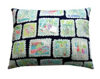 """POSTAGE STAMPS Pillow Made from Lilly Pulitzer Fabric ~ 10""""x13"""""""
