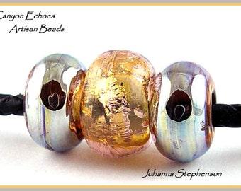 BIG HOLE BEADS Metallic Shine and Silver Canyon Echoes Lampwork Beads