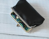 On Sale M Leather Frame Pouch Black Small Leather Clutch with Liberty of London Lining Cosmetic Pouch