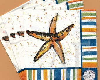 PN013 Paper Napkins by Cypress Home ~ 5x5 Artsy Starfish Sanddollar Set of 4