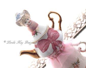 Ballerina Teapot Teacup Art Doll Functional Art Trinket Box Bisque Doll Head Mixed Media Assemblage Pink Roses OOAK Art Doll