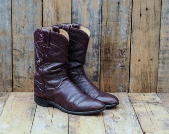 Leather Roper Boots, Us 9, Uk 7, Eu 40, Burgundy Cowboy Boots, Womens Cowboy Boots, Womens Roper Boots, USA MADE, Red Roper Boots, Boho Boot