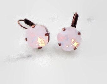 Swarovski crystal 12mm square fancy stone earrings copper setting choose rose opal/ruby/silk