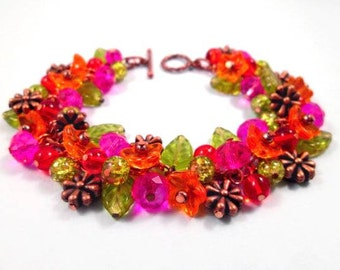 Flower Charm Bracelet, Colorful and Copper Blossoms, Orange Red Pink Green, Beaded Bracelet, FREE Shipping U.S.