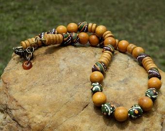 Jackfruit(Nangka) Wood and African Sandcast Bead Necklace