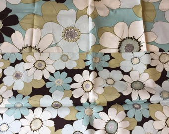 Brown and Aqua Floral Fabric, Michele D Amore Habitat Fabric Destash, Quilting Cotton, Cotton Fabric