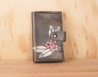 Coin Pocket Wallet - Small Womens Leather Wallet in the Dakota pattern with flowers - Pink, White and antique black