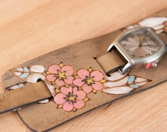 """Cuff Watch - Womens 2"""" Wide Leather Cuff Watch with Flowers - Handmade in the Dakota pattern in pink and antique black"""