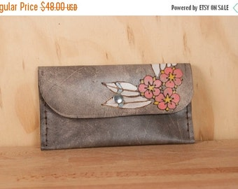 JANUARY SALE Leather Pouch - iPhone Case - Clutch - Dakota pattern with flowers and leaves in yellow, pink, white, sage and antique black