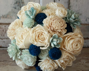 Sola flower bouquet, brides wedding bouquet, navy blue wedding flowers, eco flower bouquet, blue eco flowers, navy blue sola wood flowers