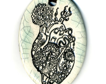 Mechanical Heart Ceramic Necklace in Crackle