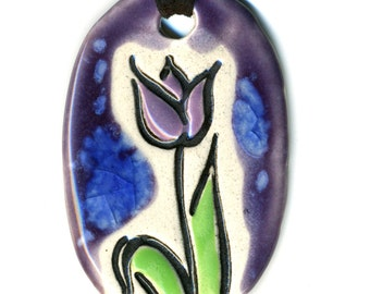 Tulip Ceramic Necklace in Purple
