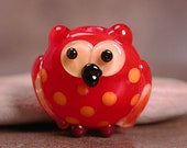 Lampwork Glass Owl Bead Bright Bird Focal Red with Orange Polka Dots Divine Spark Designs SRA
