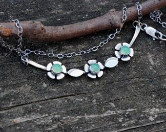 Chrysoprase Necklace ... Choose Your Stone Sterling silver flower necklace yoke necklace statement necklace