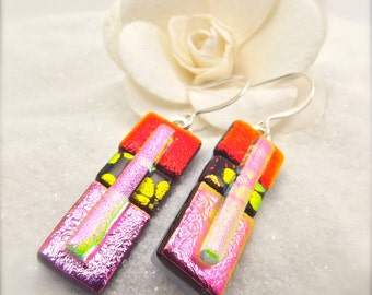 Dichroic glass, earrings, Hana Sakura, dichroic earrings, Fused glass earrings,fused glass jewelry,dichroic glass jewelry,statement earrings
