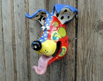Small Dog Mask Ceramic Wall Hanging Handmade by Dottie Dracos, Wild Wild Things; ceramic dog mask, 327172