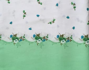 Vintage Sheeting Fabric green blue bordered over 2 yards 35 1/2 wide