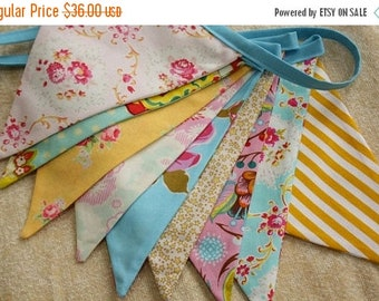 20% OFF Shabby Chic Fabric Bunting, Pink, Yellow, Blue Photography Prop, Flags, Designer's Choice.  Also For Weddings and Parties.