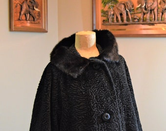 "Coat Faux Persian Lamb Fur,Real Mink Collar ,Thick Lovely Satin Lining,Size 40"" chest,  Borre Styled by Sportowne , Vintage GLAM CHIC"
