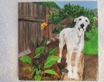 Pet Portrait 6 x 6 inch Ceramic Tiles Hand Painted and Made to Order by Shannon Ivins Irish Wolfhounds