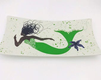 Platter. Mermaid. African American Mermaid Rectangular Platter with Starfish. Serving Platter. Handmade by Sara Hunter.
