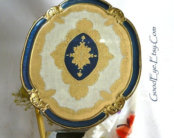Vintage Large Oval Florentine Tray ITALY / BLUE n Gold Metallic Painted Wood / 1950s 60s Hollywood Regency / Serving Storage Dresser