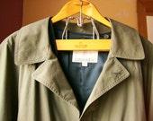Vintage Mens Overcoat Raincoat London Fog Green Long Lined Size Large 42 REG