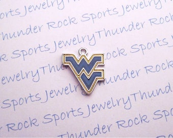 3 WEST VIRGINIA MOUNTAINEERS Charms Antique Silver Plated with blue and gold enamel University logo College Pendants