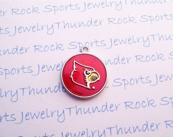 3 LOUISVILLE CARDINALS CHARMS round Antique Silver Plated with red enamel Cards University logo College Pendants