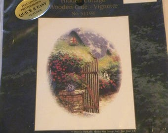"""Thomas Kinkade Hidden Cottage Wooden Gate Vignette No 51194 Quick and Easy full color Printed Design Cross Stitch Kit 8 x 10"""""""