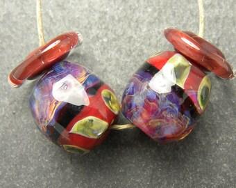 CrazyCatGlass Lampwork Boro Glass Beads Handmade Monticello Stone Pair