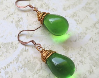 Lime green earrings simple czech glass beads with copper wire wrapping