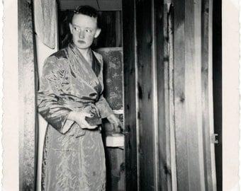 Vintage photo 1952 STRANGE Eerie Lady KAthy Bathroom Satin Robe Looks Afraid Snapshot