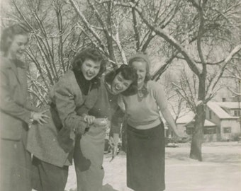 Vintage Photo 1948 Cute Young Ladies Playing Snow Saddle Shoes and Sweaters