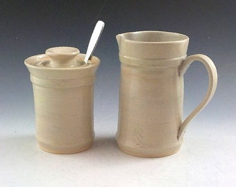 Ceramic Sugar and Creamer Set - Handmade Stoneware - Tableware - Serving Set - Ready to Ship -  Soft Parchment Color  s373