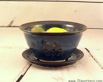 Ceramic Berry Bowl -  Stoneware Colander - Handmade Pottery - Kitchen Strainer - Housewarming Gift - Deep Blue with Brown Highlights S520