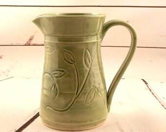 Wheel Thrown Pitcher - Stoneware Serving Jug - Handmade Ceramic Pint Vessel - Beverage Server - Table Vase - Carved Celadon Green s523