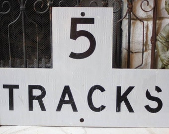 Vintage Antique TRAIN 5 Tracks SIGN Railroad Authentic