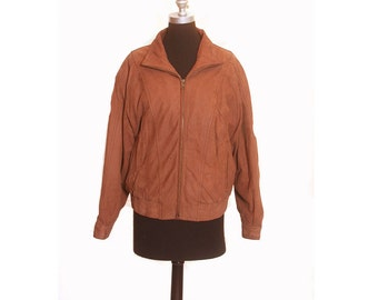 Vintage 1990s Leather Suede Tan Seinfeld Mens Bomber Jacket Size L