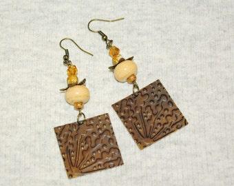 """BUTTERSCOTCH Lampwork  Pagoda Style Boho Earrings Brass and Lampwork Bead 2.5"""" Dangles Gypsy Girl Festival Bohemian Earrings"""