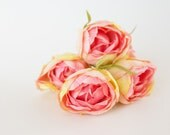 5 Pretty Tulip Blooms in Pink and yellow - DIY Bouquet Flower Crown Filler - ITEM 0553
