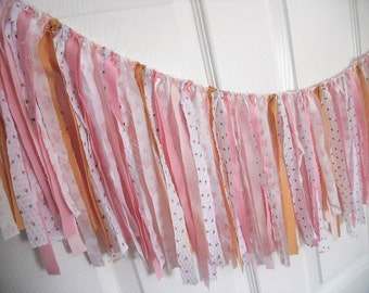 Rag Tie Garland, Rag Fringe, Fabric Garland, Birthday, Pink Gold Nursery, Shower, Tea Party Shabby Chic Garland Farmhouse Wedding Photo Prop