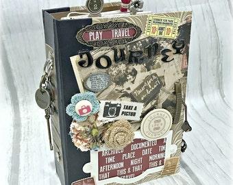 Altered TRAVEL VACATION Hard Back Junk JOURNAL Planner Organizer Smash Book Scrapbook Art Journal  2 Ring Binder Mini Album